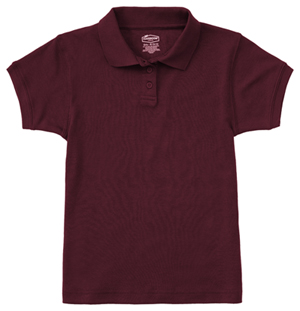 Classroom Uniforms Junior SS Fitted Interlock Polo Burgundy (58584-BUR)