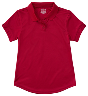 Classroom Uniforms Girls S/S Moisture Wicking Polo Red (58632-RED)