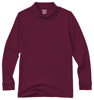 Classroom Uniforms Youth Unisex Long Sleeve Interlock Polo Burgundy (58732-BUR)
