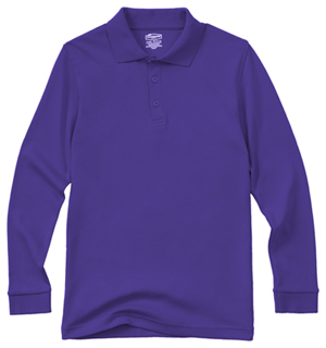 Classroom Uniforms Youth Unisex Long Sleeve Interlock Polo Dark Purple (58732-DKPR)
