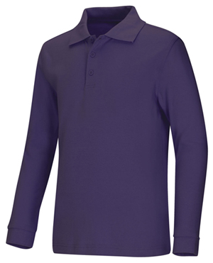 Classroom Child's Unisex Youth Unisex Long Sleeve Interlock Polo Purple