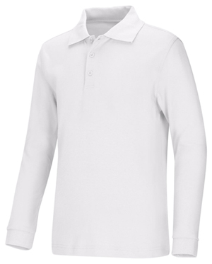 Classroom Child's Unisex Youth Unisex Long Sleeve Interlock Polo White
