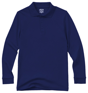 Classroom Uniforms Adult Unisex Long Sleeve Interlock Polo Dark Navy (58734-DNVY)