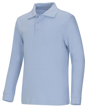 Classroom Uniforms Adult Unisex Long Sleeve Interlock Polo Light Blue (58734-LTB)