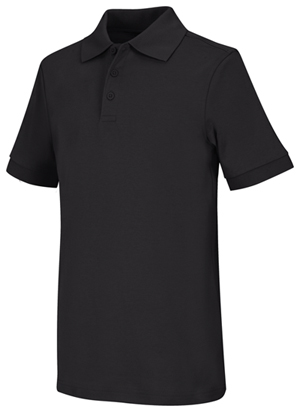 Classroom Youth Unisex Short Sleeve Interlock Polo (58912-BLK) (58912-BLK)