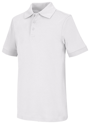 Classroom Uniforms Adult Unisex Short Sleeve Interlock Polo SS White (58914-SSWT)