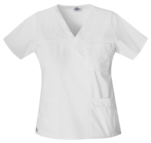 Dickies Gen Flex Women's V-Neck Top White
