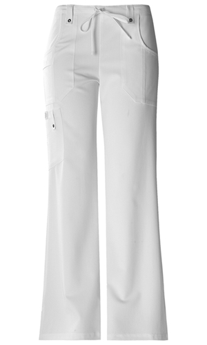 Xtreme Stretch Women's Mid Rise Drawstring Cargo Pant White