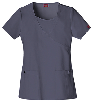 Dickies Xtreme Stretch Women's Mock Wrap Top Grey