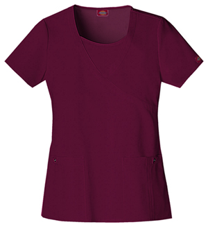 Dickies Xtreme Stretch Women's Mock Wrap Top Red