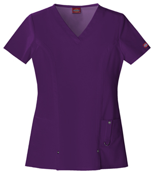 Dickies Xtreme Stretch V-Neck Top in Eggplant (82851-EGPZ)