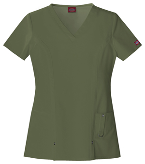 Dickies Xtreme Stretch V-Neck Top in Olive (82851-OLWZ)