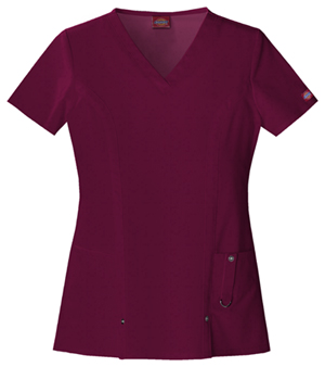 Dickies Xtreme Stretch V-Neck Top in D-Wine (82851-WINZ)