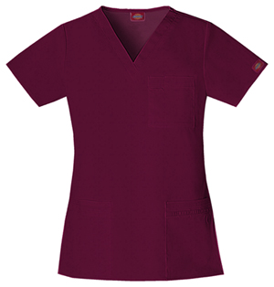 "Dickies Gen Flex Women's ""Youtility"" V-Neck Top Red"