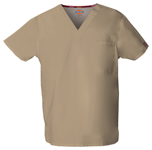 Dickies EDS Signature Unisex V-Neck Top in Dark Khaki (83706-KHIZ)
