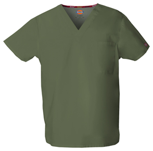 Dickies EDS Signature Unisex V-Neck Top in Olive (83706-OLWZ)