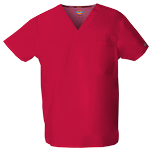 Dickies EDS Signature Unisex V-Neck Top in Red (83706-REWZ)