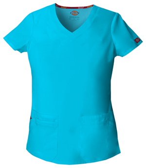 Dickies EDS Signature V-Neck Top in Turquoise (85906-TQWZ)