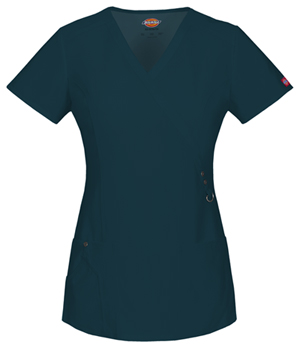 Dickies Xtreme Stretch Mock Wrap Top in Caribbean (85956-CRBZ)