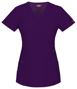 Dickies Xtreme Stretch Mock Wrap Top in Eggplant (85956-EGPZ)