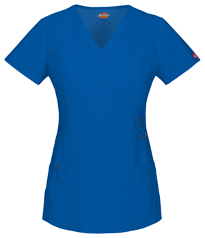 Dickies Xtreme Stretch Mock Wrap Top in Royal (85956-RYLZ)