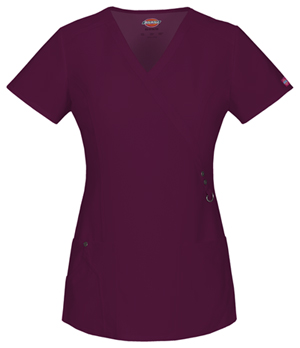 Dickies Xtreme Stretch Mock Wrap Top in D-Wine (85956-WINZ)