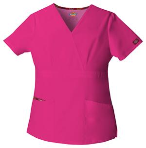 Dickies Mock Wrap Top Hot Pink (86806-HPKZ)