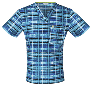 Code Happy Men's V-Neck Tropical Plaid (CH605X5A-TRPL)