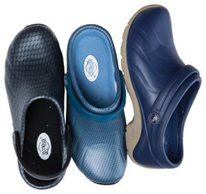 Anywear Medical Footwear Unisex Anywear Injected Clog w/Backstrap Black Silver Pattern