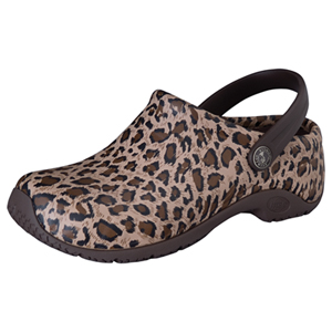 Anywear Medical Footwear Unisex Anywear Injected Clog w/Backstrap Leopard