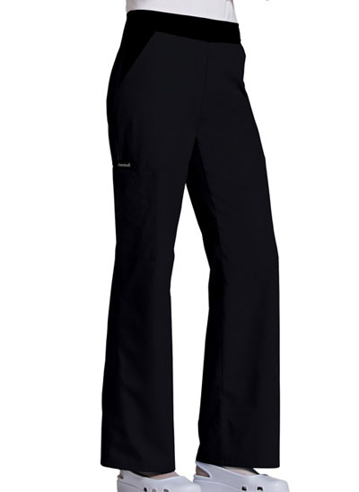 Cherokee Flexibles Women's Mid-Rise Knit Waist Pull-On Pant Black