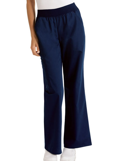 Cherokee Flexibles Women's Mid-Rise Knit Waist Pull-On Pant Blue