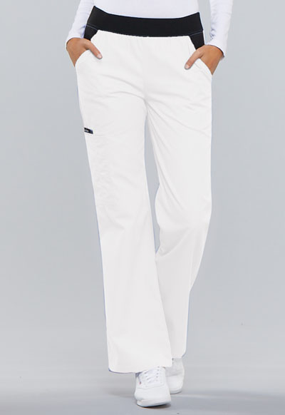 Cherokee Flexibles Women's Mid Rise Knit Waist Pull-On Pant White