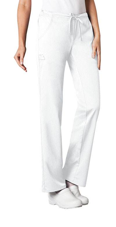 Cherokee Luxe Women\'s Low Rise Straight Leg Drawstring Pant White