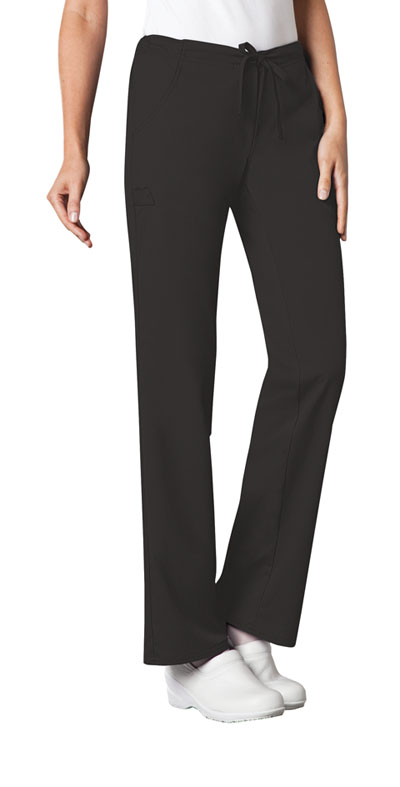 Cherokee Luxe Women's Low Rise Straight Leg Drawstring Pant Black
