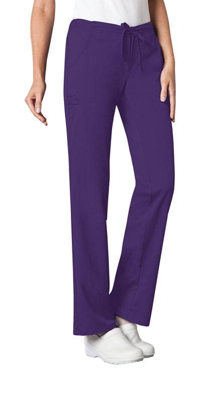 Cherokee Luxe Women\'s Low Rise Straight Leg Drawstring Pant Purple