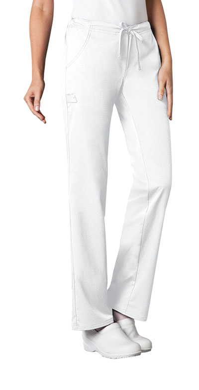 Luxe Women's Low Rise Straight Leg Drawstring Pant White