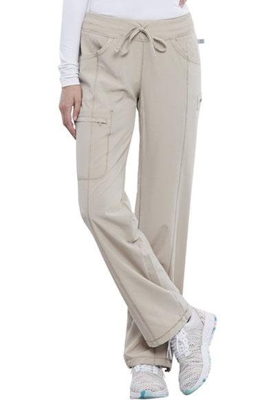 Infinity by Cherokee Women's Low Rise Straight Leg Drawstring Pant Khaki