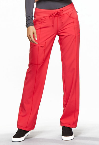 Cherokee Infinity Women's Low Rise Straight Leg Drawstring Pant Red