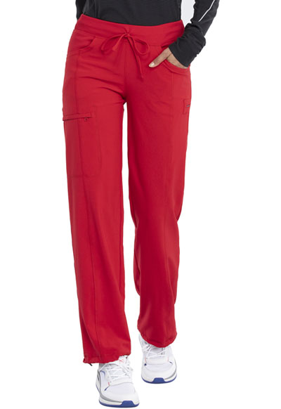 Infinity by Cherokee Women's Low Rise Straight Leg Drawstring Pant Red