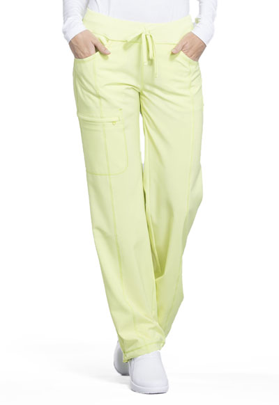 Infinity by Cherokee Women's Low Rise Straight Leg Drawstring Pant Green