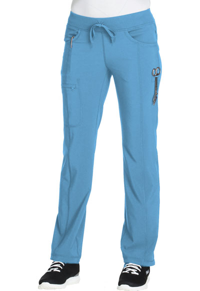 Cherokee Infinity Women's Low Rise Straight Leg Drawstring Pant Blue