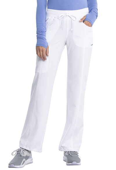 Infinity by Cherokee Women's Low Rise Straight Leg Drawstring Pant White