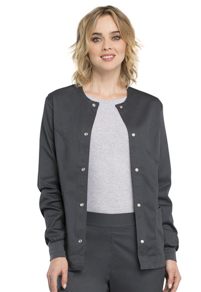 Cherokee Luxe Women\'s Snap Front Warm-Up Jacket Gray