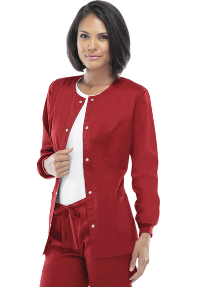 Luxe Women's Snap Front Warm-Up Jacket Red