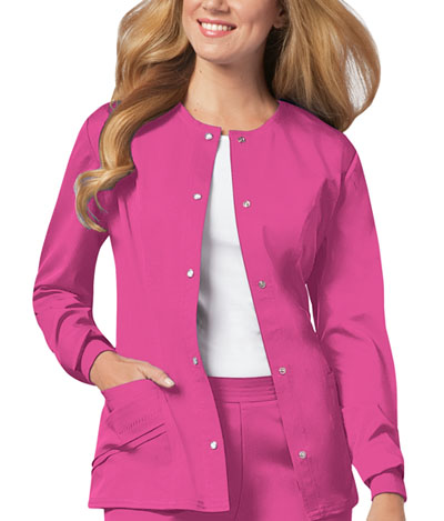 Cherokee Luxe Women\'s Snap Front Warm-Up Jacket Pink