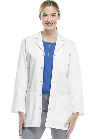 Professional Whites Women 32 Snap Front Lab Coat White