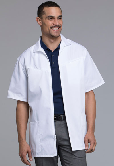 Med-Man Cherokee Whites Men's Men's Zip Front Jacket White