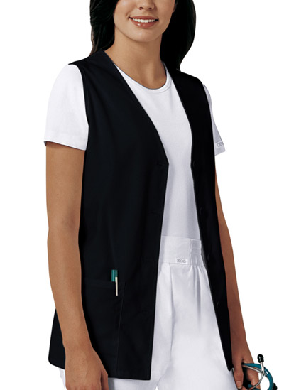 Cherokee Fashion Solids Women\'s Button Front Vest Black