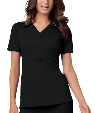 Luxe Women's Mock Wrap Top Black